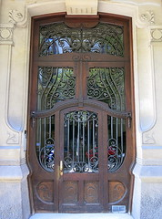 Carved wood, iron and glass door, Barcelona