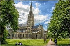 Salisbury , the Cathedral ... (miriam ulivi) Tags: miriamulivi nikond7200 england uk wiltshire salisbury salisburycathedral goticoinglese gothicenglish architecture architettura prato close alberi trees people cielo sky nuvole clouds