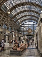 Musee d'Orsay, Paris France (duaneschermerhorn) Tags: station train trainstation museum gallery art statue bench people clock curvedroof hdr ornate decorative decorated