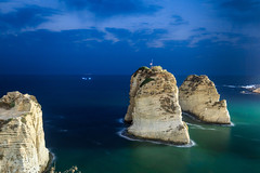Pigeon Rocks in the evening, Beirut (Frans.Sellies) Tags: img1228lr beirut lebanon libanon الروشة الروشة الروشه بيروت لبنان