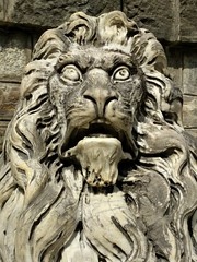 Lion guard at Peleș Castle in Romania (ashabot) Tags: romania castles travel sculpture lion balkans