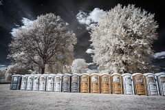 Portajohn Infrared (Notley Hawkins) Tags: httpwwwnotleyhawkinscom notleyhawkinsphotography notley notleyhawkins 10thavenue clouds rural 2017 september ir infrared johns portajohns toilets park tree landscape sky boonecountymissouri stephenslakepark the2017rootsnbluesnbbqfestival rootsnblues rootsnbluesnbbq