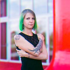 Delphine - Trichromie (Yael P) Tags: portrait tattoos trichromie kodaktrix hasselblad hasselblad501cm sonnar analog believeinfilm filmisnotdead shotonfilm greenhair