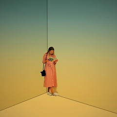 Girl in Corner (CosmoClick) Tags: girl corner yellow blue surreal manupilation cosmoclick wow empty room