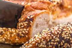 Macro Mondays – Bread. (Kev Gregory (General)) Tags: macromondays bread artisan poppy sesame loaf round knife england kev gregory canon 7d macro mondays 100 100mm f28 usm ef challenge theme