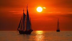 For romantics (Petra Runge) Tags: sail segeln sunset sonnenuntergang sailingship segelschiff meer ostsee hansesail rostock rot red romantik schiff boot canon 1100d