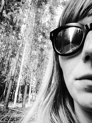 In the woods (doubleshotblog) Tags: depth intodeep australia iwillfollow blackandwhite offthebeatentrack southaustralia doubleshotblog doubleshot entwood forbidden woods forest sunglasses reflection