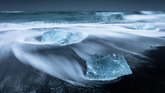 Cool waves (Mika Laitinen) Tags: canon5dmarkiv diamondbeach europe horizon iceland jã¶kulsã¡rlã³n blacksand cold color dreamscape ice landscape longexposure nature ocean outdoors sea seascape sky water wave wideangle