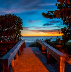 A Short Walk Into the Sunset (C. P. Ewing) Tags: sun sunset sundown sea ocean gulf beach sand water sky skies cloud clouds tree trees bridge boardwalk horizon colorful all beautiful landscape landscapes florida naples blue yellow everything night nightfall lowlight nature natural outdoor