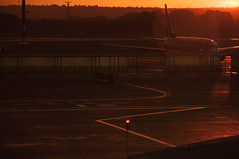 (Viktor Kiss) Tags: plane airport ryanair sunrise summer travel d90 nikon 18105 orange golden hour airplane color dawn hungary budapest