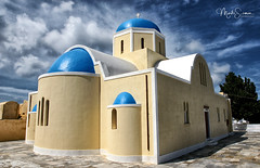 Orthodox church (marko.erman) Tags: oia santorini cyclades thira island caldera volcano crater slope steep village white houses whitepainted sony wide angle perspective scenic beautiful travel popular greece sea water clouds orthodox