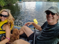 Summer Fun (tquist24) Tags: cavapoo elkhart indiana samsung samsunggalaxys6 sicily stjosephriver wanda boat couple dog geotagged girl hat kayak man paddle pretty puppy river selfie smile smiles summer sunglasses wife woman unitedstates