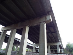 Kentucky Bridges... (EX22218 - ON/OFF) Tags: bridge genesnyder i265 exit 30 cracked concrete busted rebar structuralintegrity crumbling infrastructure columns overpass stone stones tree weed weeds tracks wires lines metal iron grey gray green damaged
