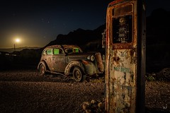 Premium No2 Diesel (Aztravelgrl (Forgotten Places Photography)) Tags: nelsonghosttown nevada usa abandoned ghosttown lightpainting longexposure lowlight nightphotography vintagegaspump vintagecar moonrise