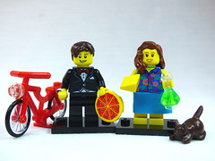 Brick Yourself Custom Lego Figure  Couple with Pizza Cheese Bicycle Beaker and Cat