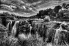 Paterson Falls 2 B&W HDR (a2roland) Tags: paterson falls nj new jersey city organic green yellow blue norman zeb a2rolandyahoocom a2roland norm terra firma forma geosite geography topography elevation formation 13000 years ago ice age prehistoric historic color ultra wide angle hdr high dynamic range photography photograph picture pics leaves tree black white water river waterfall flow stream spring day ansel adam saturated landscape nature natural view perspective focal focus lenght camera nikon lens supe