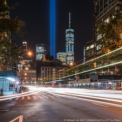 Tribute in Light - 9/11/17 (20170911-DSC02062-Edit) (Michael.Lee.Pics.NYC) Tags: newyork tributeinlight 2017 911 commemorate night longexposure lighttrail traffictrail sixthavenue tribeca architecture cityscape square onewtc worldtradecenter sony a7rm2 fe2470mmf28gm