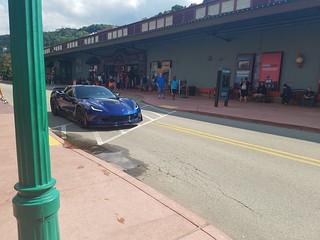 corvette rolls through station square