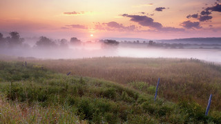 Misty sunrise of August