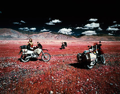 Out Exploring (tsiklonaut) Tags: pentax 67 6x7 67ii film analog analogue analogica analoog 120 roll medium format kodak eir aerochrome infrared infra color slide dia positive e6 fuji hunt chrome 6x red mongolia mongoolia landscape motorcycle moto adventure travel discover experience bmw r1100gs suzuki drz 400 ktm 990 adv drum scan drumscan scanner pmt photomultipliertube