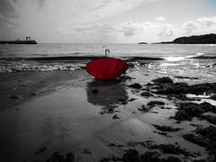 Lost (Jaime GF) Tags: bn bw beach umbrella coast playa costa paraguas wileifox luanco gozón asturias spain