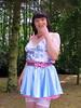 Forest fairy (Paula Satijn) Tags: sexy hot girl satin silk skirt blue pink silky shiny girly sensual foresty woods outside sweet cute petticoat bow stockings stockingtops miniskirt tgirl tranny transvestite smile happy joy