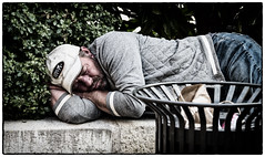 Asleep in the town (Andy J Newman) Tags: sleep france portrait street bergerac livingonthestreet asleep man tramp candid vagrant colorefex dordogne old olympus om omd beard nouvelleaquitaine fr