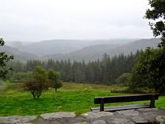 4924 Gwydyr Forest Park from a view point picnic platz. (Andy - Busyyyyyyyyy) Tags: bench ccc clouds conifer evergreen fff field fir forest ggg grass green gwydyrforestpark mist mmm picnicplatz ppp rain rrr sky sss trees ttt viewpoint vvv northwales cymru