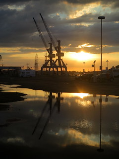 Rostock harbour: Cranes at sunset