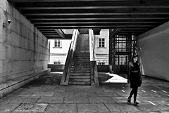 stairs & light & lady in black (christikren) Tags: stairs city christikren austria architecture blackwhite building bw entrance facade grey light monochrome museum photography panasonic sw streetphotography candid urban vienna lady stairways black public