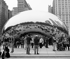BUSY DAY AT THE BEAN (Rob Patzke) Tags: chicago bean reflection street millennium cloudgate bw crowd lumix lx100