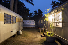 Three Trailers (Curtis Gregory Perry) Tags: seaview washington souwester night longexposure mobile home trailer park court blue hour northwest nikon d810