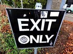 Exit Only (Steve Taylor (Photography)) Tags: exitonly pkay graffiti streetart sign tag sticker carpark black green brown white contrast newzealand nz southisland canterbury christchurch cbd city leaves bush perspective autumn 15 saint car automobile