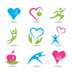 Healthy hearts icons (DelphHealf) Tags: aid ambulance antioxidant biotechnology blue green pink body cardiogram cardiology care character people silhouette clipart collection emergency energy first health healthcare heart hospital human icon illness illustration isolated life medical medicine natural patient person pharmacy protection pulse set shape sign symbol vector exercise apple vitamins move run jogging yoga running sport activity fruit lifestyle