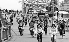 Rush Hour in China 1985 (gerard eder) Tags: world travel reise viajes asia eastasia easternasia china guangzhou bicycle bridges bw traffic blackandwhite blackwhiteblanco negroswblack whiterush houroutdoorstädtestreetstreet lifestadtlandschaftciudadescitycity view cityscape