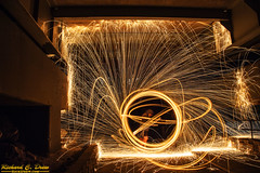 Steel / wire Wool Spinning (Rick Drew - 19 million views!) Tags: steel wire wool spinning fire hot sparks sparky orange spiral circle ring