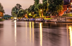 down by the canal at night (Paul Wrights Reserved) Tags: longexposure reflection lights bursts house boats trees water canal river lamposts night frosted glass shuuter speed canon 80d 50mm f14 bridge