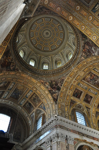 Fausse coupole, église baroque du Gesù Nuovo (1584-1725), piazza del Gesù Nuovo,  Naples, Campanie, Italie.