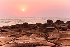 Hazy Sunrise Seascape (Merrillie) Tags: daybreak rockshelf sand landscape northavocabeach headland avocabeach sunrise newsouthwales rocks centralcoast nsw earlymornings beach scenery sea rocky dawn seascape nature outdoors waterscape rockplatform coast water australia