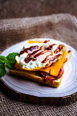bacon, egg and cheese on toast (ChicqueeCat) Tags: breakfast food nikon 40mm d3300
