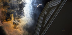 Ghostly Eclipse (ChristopherLeeHewitt) Tags: eclipse solar moon sun house clouds nikon northcarolina color rooftop tower nikond810 500mm sky architecture drama astrophotography hangerhouse