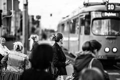 Silent Disco 19.365 (ewitsoe) Tags: 85mm artseries sigman canon eos 5d markiv street urban city ladies waiting crossing tram train citylfe life living poznan poland polska tram10 365 19 autumn cityscape ewitsoe monochrome blackandwhite