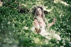 "TEATRONATURA ""Mystic atmosphere"" (valeriafoglia) Tags: nimph photo photography model white flowers woods creature colour composition creative capture makeup outfit stylist art fantasy"