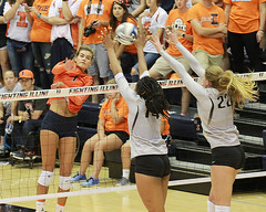 Quade gets blocked (RPahre) Tags: colorado universityofcolorado volleyball illinois universityofillinois huffhall huff champaign jacquelinequade naghedeabu joslynhayes block swing
