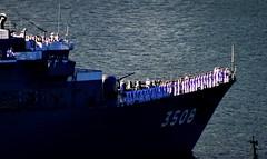 Close up of the JDS Kashima (TV-3508) leaving Vancouver (+5) (peggyhr) Tags: peggyhr series japanesetrainingship jmsdf jdskashimatv3508 sailors harbour vancouver bc canada sonydschx80 thegalaxy super~sixbronze☆stage1☆ thegalaxystars