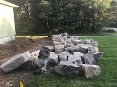 Rocks delivered (deroller) Tags: landscaping hardscaping landscape rocks boulders dolomite limestone plantings lighting volt cumberland bay patio front yard remake