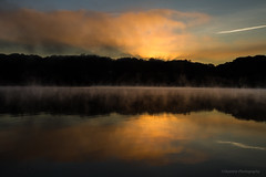Daybreak at Lakewood (Skyelyte) Tags: mist daybreak sunrise water lake trees forest silhouette sky reflection mirror newengland newenglandlake connecticut waterburyconnecticut fog foggy misty clouds