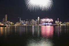 National Day fireworks (FROZEN ! !) Tags: fireworks cityscape nationalday singapore marinabay seasia lowlight photography pink landscape celebration canon canon6d