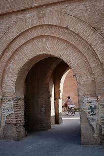 Moroccan woman on bicycle, Taroudant, Morocco