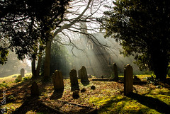 The sun breaks through (philbarnes4) Tags: stpetersbredhurst church churchyard mist kent rochesterdiocese country trees graves memorials parishofsouthgillingham philbarnes anglican protestant churchofengland dslr nikond80 shadows sunsrays